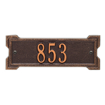 Rectangle Shape Address Plaque Named Roanoke with a Antique Copper Plaque Petite Wall with One Line of Text