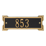 Rectangle Shape Address Plaque Named Roanoke with a Black & Gold Plaque Petite Wall with One Line of Text