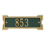 Rectangle Shape Address Plaque Named Roanoke with a Green & Gold Plaque Petite Wall with One Line of Text