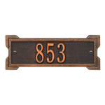 Rectangle Shape Address Plaque Named Roanoke with a Oil Rubbed Bronze Plaque Petite Wall with One Line of Text