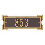 Rectangle Shape Address Plaque Named Roanoke with a Bronze & Gold Plaque Petite Wall with One Line of Text