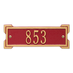 Rectangle Shape Address Plaque Named Roanoke with a Red & Gold Plaque Petite Wall with One Line of Text