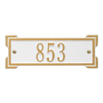 Rectangle Shape Address Plaque Named Roanoke with a White & Gold Plaque Petite Wall with One Line of Text