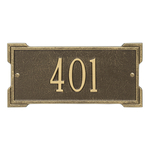 Rectangle Shape Address Plaque Named Roanoke with a Antique Brass Plaque Mini Wall with One Line of Text