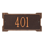 Rectangle Shape Address Plaque Named Roanoke with a Antique Copper Plaque Mini Wall with One Line of Text
