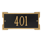 Rectangle Shape Address Plaque Named Roanoke with a Black & Gold Plaque Mini Wall with One Line of Text