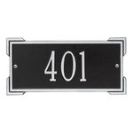 Rectangle Shape Address Plaque Named Roanoke with a Black & Silver Plaque Mini Wall with One Line of Text