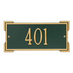 Rectangle Shape Address Plaque Named Roanoke with a Green & Gold Plaque Mini Wall with One Line of Text
