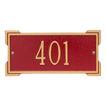Rectangle Shape Address Plaque Named Roanoke with a Red & Gold Plaque Mini Wall with One Line of Text