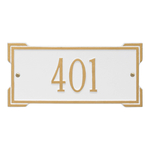 Rectangle Shape Address Plaque Named Roanoke with a White & Gold Plaque Mini with One Line of Text
