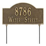 Two sided Arched Rectangle Shape Address Plaque with a Antique Brass Finish, Standard Lawn with Two Lines of Text