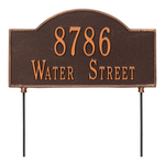 Two sided Arched Rectangle Shape Address Plaque with a Antique Copper Finish, Standard Lawn with Two Lines of Text