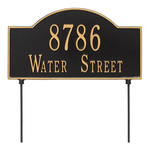 Two sided Arched Rectangle Shape Address Plaque with a Black & Gold Finish, Standard Lawn with Two Lines of Text