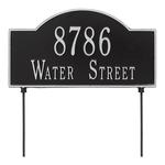 Two sided Arched Rectangle Shape Address Plaque with a Black & Silver Finish, Standard Lawn with Two Lines of Text