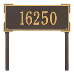 The Roanoke Rectangle Address Plaque with a Bronze & Gold Finish, Estate Lawn with One Line of Text