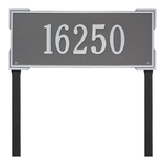 The Roanoke Rectangle Address Plaque with a Pewter & Silver Finish, Estate Lawn with One Line of Text