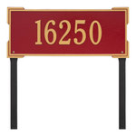 The Roanoke Rectangle Address Plaque with a Red & Gold Finish, Estate Lawn with One Line of Text