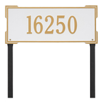 The Roanoke Rectangle Address Plaque with a White & Gold Finish, Estate Lawn with One Line of Text