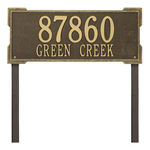 The Roanoke Rectangle Address Plaque with a Antique Brass Finish, Estate Lawn with Two Lines of Text