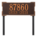 The Roanoke Rectangle Address Plaque with a Antique Copper Finish, Estate Lawn with Two Lines of Text