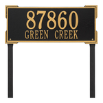 The Roanoke Rectangle Address Plaque with a Black & Gold Finish, Estate Lawn with Two Lines of Text