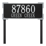 The Roanoke Rectangle Address Plaque with a Black & Silver Finish, Estate Lawn with Two Lines of Text