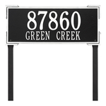 The Roanoke Rectangle Address Plaque with a Black & White Finish, Estate Lawn with Two Lines of Text