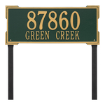 The Roanoke Rectangle Address Plaque with a Green & Gold Finish, Estate Lawn with Two Lines of Text