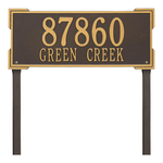 The Roanoke Rectangle Address Plaque with a Bronze & Gold Finish, Estate Lawn with Two Lines of Text