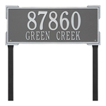 The Roanoke Rectangle Address Plaque with a Pewter & Silver Finish, Estate Lawn with Two Lines of Text