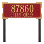 The Roanoke Rectangle Address Plaque with a Red & Gold Finish, Estate Lawn with Two Lines of Text