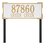 The Roanoke Rectangle Address Plaque with a White & Gold Finish, Estate Lawn with Two Lines of Text