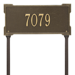 The Roanoke Rectangle Address Plaque with a Antique Brass Finish, Standard Lawn with One Line of Text
