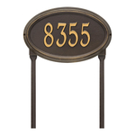 The Concord Raised Border Oval Shape Address Plaque with a Bronze & Gold Finish, Standard Lawn with One Line of Text