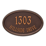 The Concord Raised Border Oval Shape Address Plaque with a Antique Copper Finish, Estate Wall with Two Lines of Text