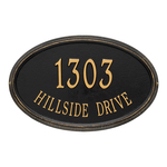 The Concord Raised Border Oval Shape Address Plaque with a Black & Gold Finish, Estate Wall with Two Lines of Text