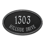The Concord Raised Border Oval Shape Address Plaque with a Black & Silver Finish, Estate Wall with Two Lines of Text