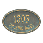 The Concord Raised Border Oval Shape Address Plaque with a Bronze & Verdigris Finish, Estate Wall with Two Lines of Text