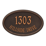 The Concord Raised Border Oval Shape Address Plaque with a Oil Rubbed Bronze Finish, Estate Wall with Two Lines of Text
