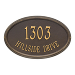 The Concord Raised Border Oval Shape Address Plaque with a Bronze & Gold Finish, Estate Wall with Two Lines of Text