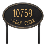 The Concord Raised Border Oval Shape Address Plaque with a Black & Gold Finish, Estate Lawn with Two Lines of Text
