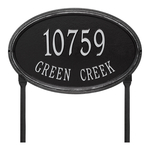 The Concord Raised Border Oval Shape Address Plaque with a Black & Silver Finish, Estate Lawn with Two Lines of Text