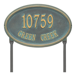 The Concord Raised Border Oval Shape Address Plaque with a Bronze & Verdigris Finish, Estate Lawn with Two Lines of Text