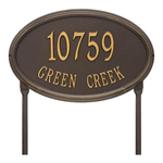 The Concord Raised Border Oval Shape Address Plaque with a Bronze & Gold Finish, Estate Lawn with Two Lines of Text