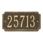 A Rectangle Address Plaque with Corners Cut Off with a Antique Brass Finish, Standard Wall with One Line of Text
