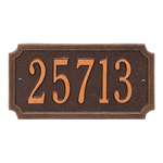 A Rectangle Address Plaque with Corners Cut Off with a Antique Copper Finish, Standard Wall with One Line of Text