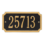 A Rectangle Address Plaque with Corners Cut Off with a Black & Gold Finish, Standard Wall with One Line of Text