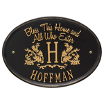 Bless This Home Monogram Oval Personalized Plaque Black & Gold