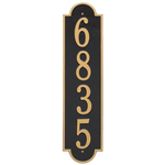 Personalized Richmond Style Vertical Estate Wall Plaque with a Black & Gold Finish
