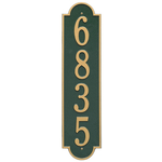 Personalized Richmond Style Vertical Estate Wall Plaque with a Green & Gold Finish